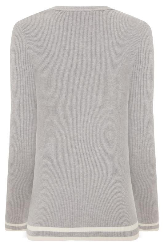 Grey Marl Stripe Hem Ribbed Sweater_BK.jpg