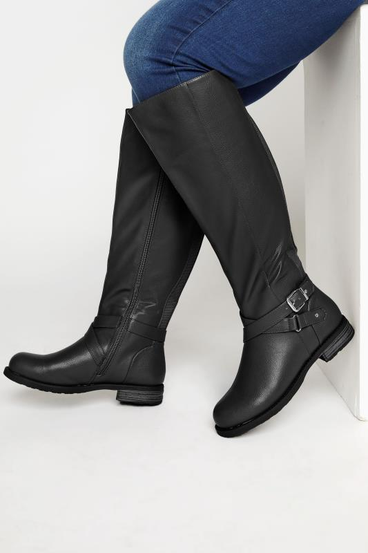 Plus Size  Black Faux Leather Knee High Boots In Extra Wide Fit