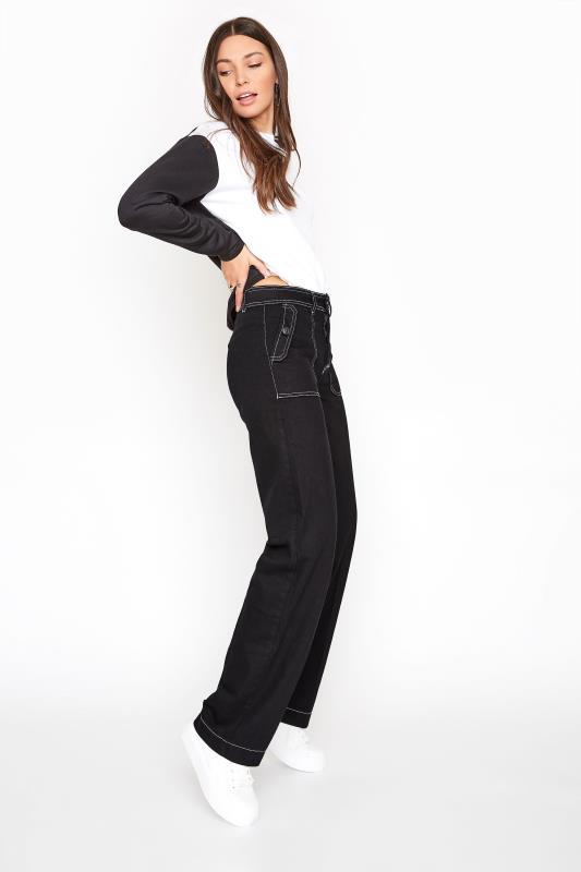 Black Cotton Twill Wide Leg Trousers