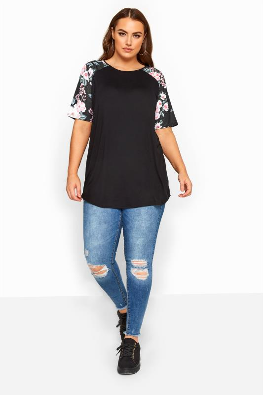 LIMITED COLLECTION Black Floral Print Raglan Sleeve Top