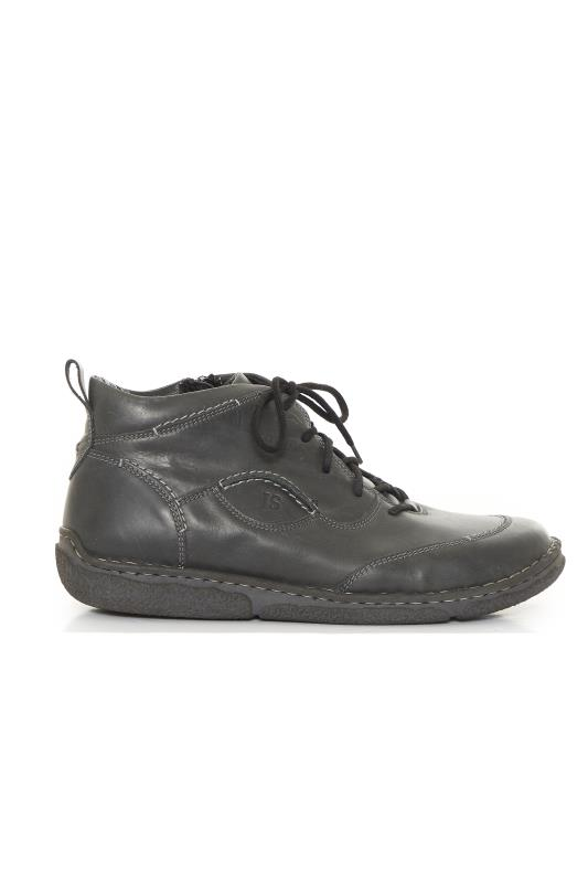 JOSEF SEIBEL Black Leather Lace Up Ankle Boots