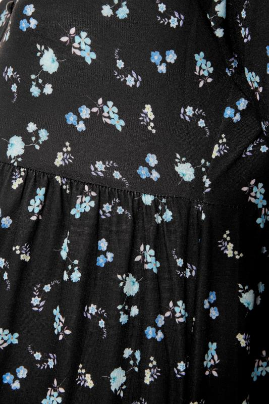 BUMP IT UP MATERNITY Black Ditsy Floral Smock Dress_S.jpg
