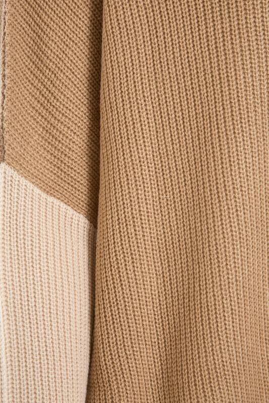 Beige Colour Block Oversized Knitted Jumper_S.jpg