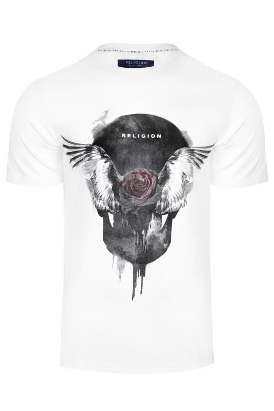 Grande Taille RELIGION White Rose Print T-Shirt
