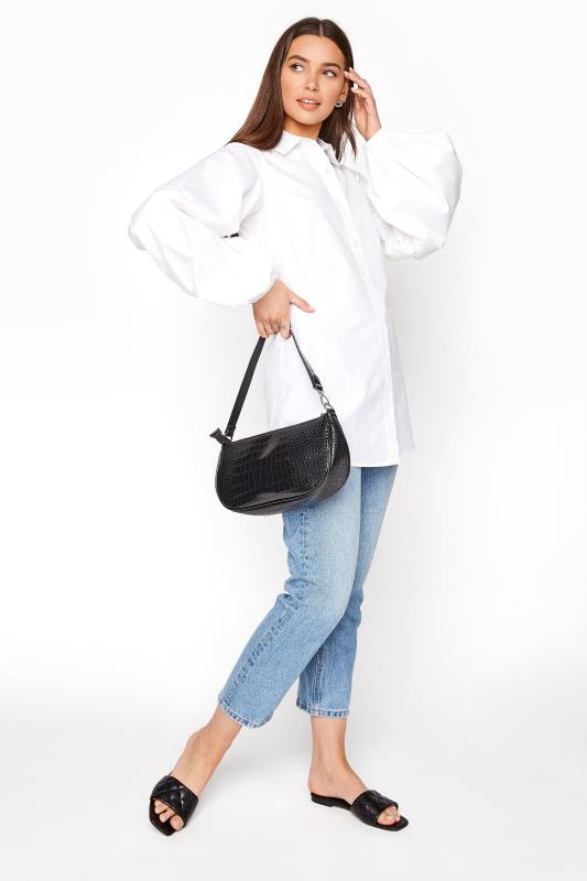 LTS White Balloon Sleeve Cotton Shirt