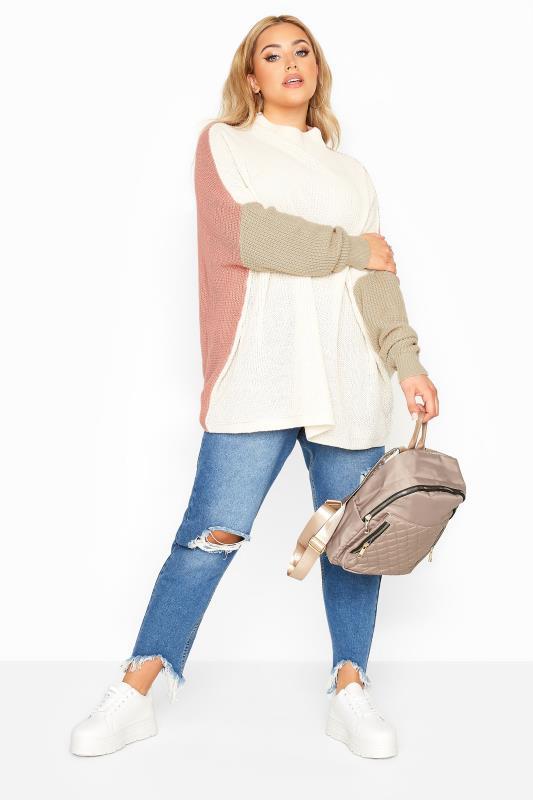Cream Colour Block Oversized Knitted Jumper_B.jpg