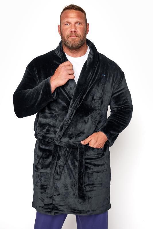 Men's Casual / Every Day BadRhino Black Soft Dressing Gown