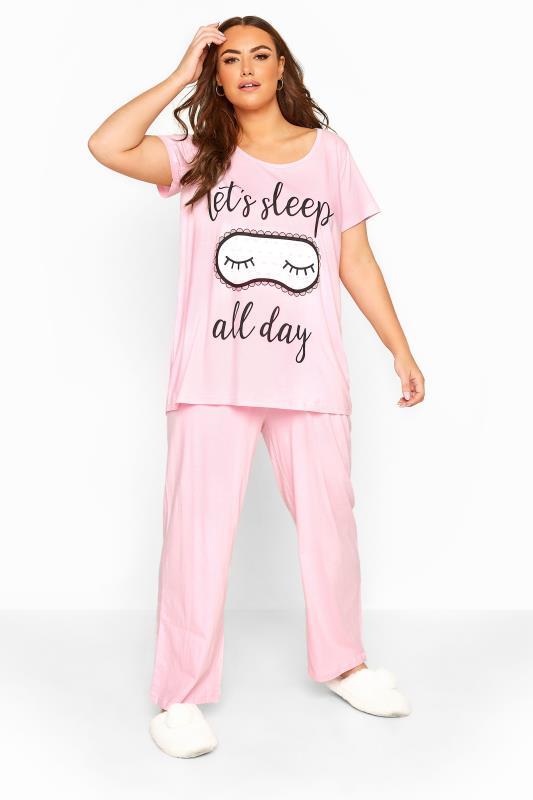 Tallas Grandes Pink 'Sleep All Day' Slogan Pyjama Set