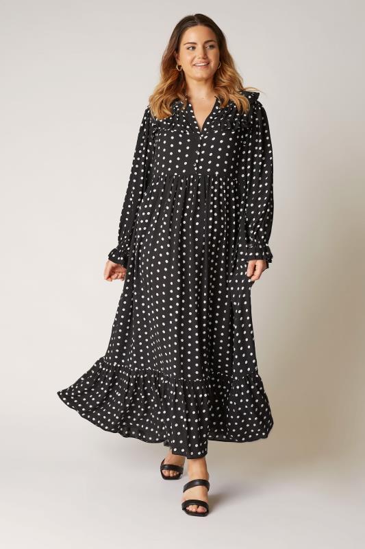 THE LIMITED EDIT Black Polka Dot Frill Smock Maxi Dress