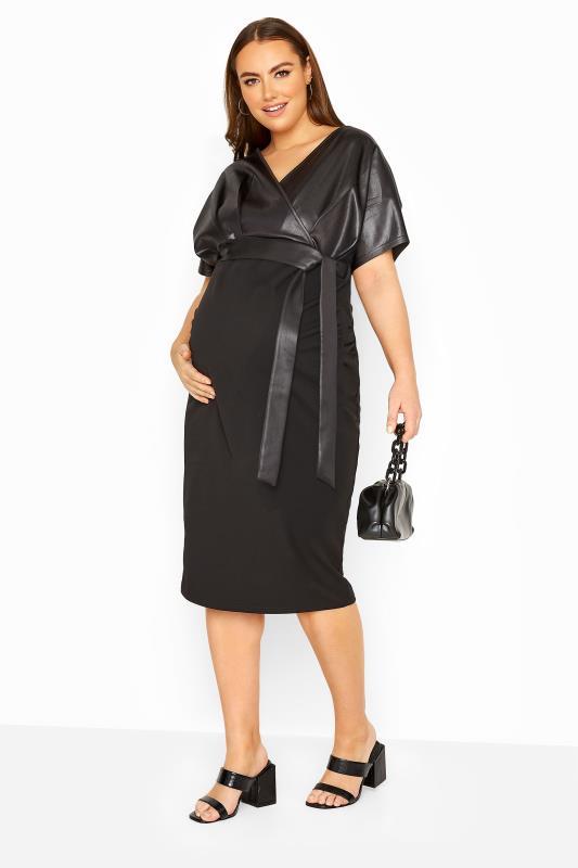 Plus Size  BUMP IT UP MATERNITY Black Contrast Wrap Dress