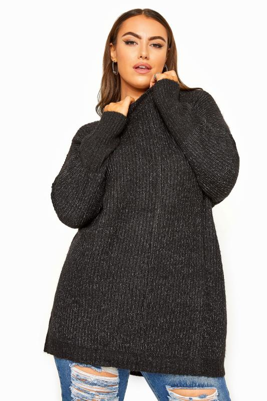 Plus Size Jumpers Black Marl Oversized Knitted Jumper