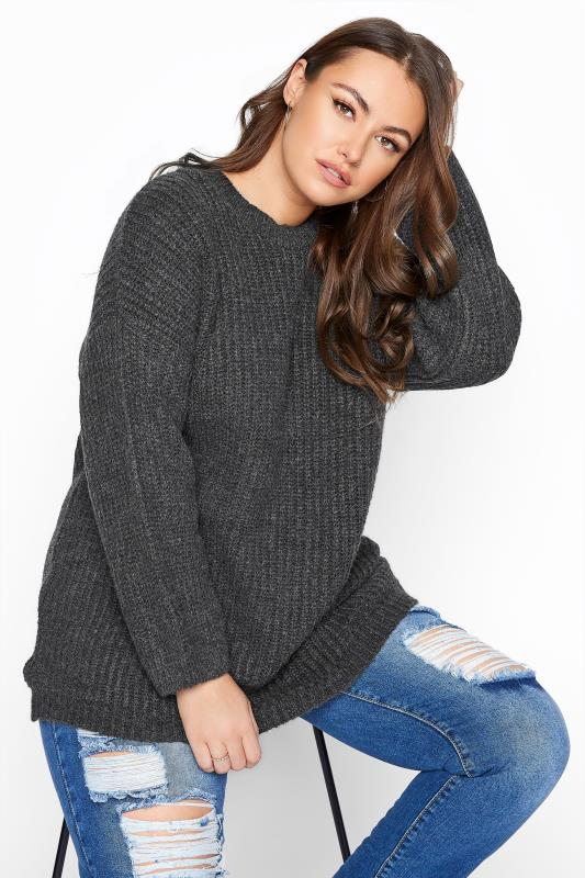 Plus Size  Grey Wide Balloon Sleeve Chunky Knitted Jumper