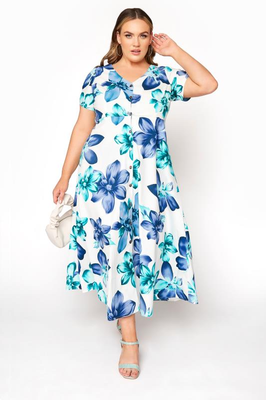 dla puszystych LIMITED COLLECTION White Floral Midi Dress