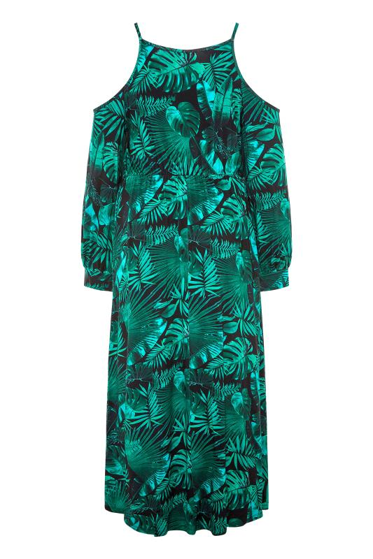 Green Tropical Print Cold Shoulder Midaxi Dress_BK.jpg