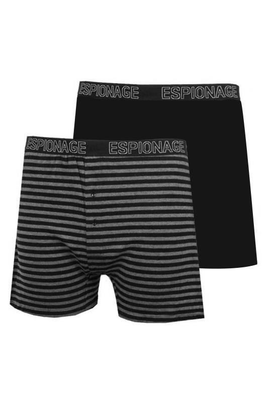 Plus Size  ESPIONAGE 2 PACK Black Cotton Trunks