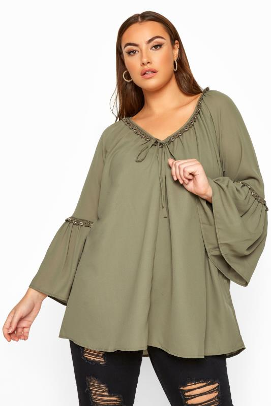 Plus Size Chiffon Blouses LIMITED COLLECTION Khaki Eyelet Flare Sleeve Top