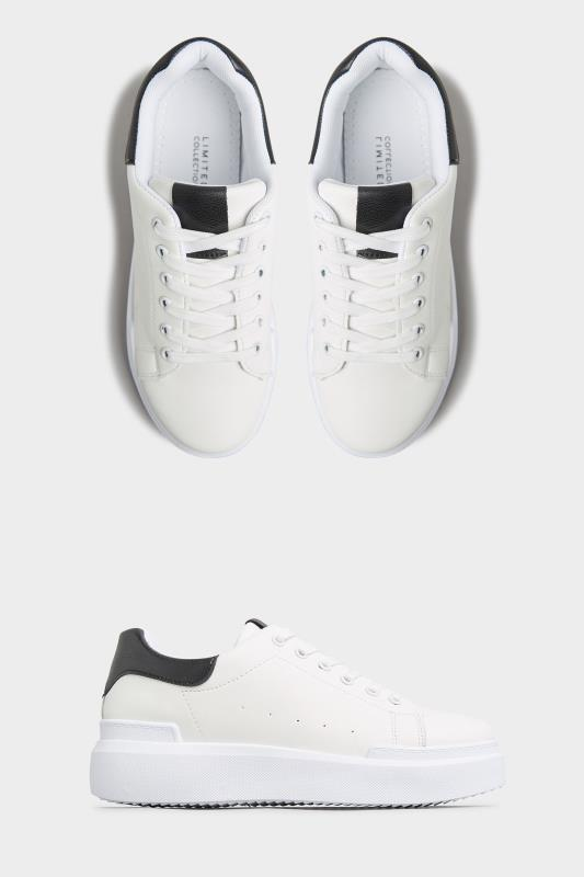 LIMITED COLLECTION White and Black Flatform Trainer In Wide Fit
