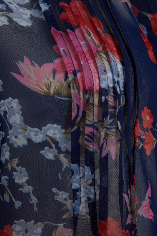 Midnight Blue Floral Pintuck Dipped Hem Blouse_S.jpg