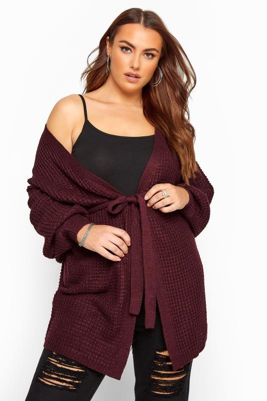 Großen Größen Cardigans Damson Purple Belted Knitted Cardigan
