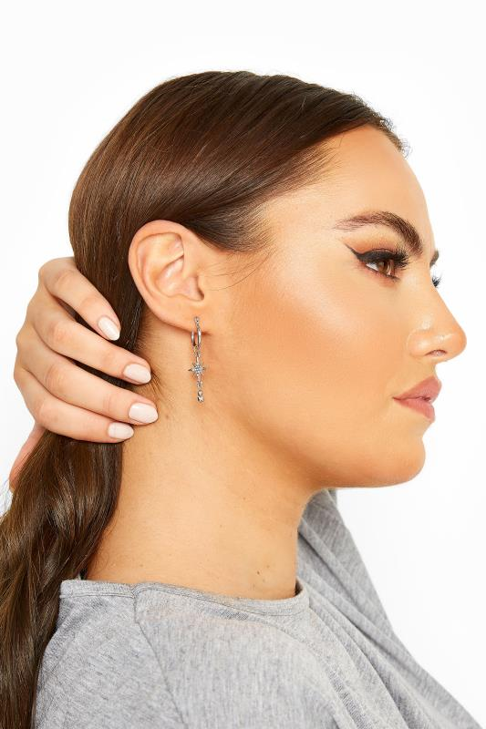 Silver Star Drop Earrings