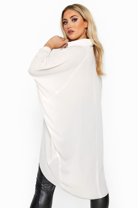 YOURS LONDON Cream Oversized Dipped Hem Shirt