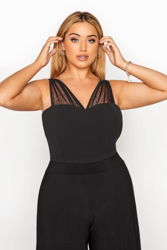 Plus Size  YOURS LONDON Black Mesh Sweetheart Bodysuit