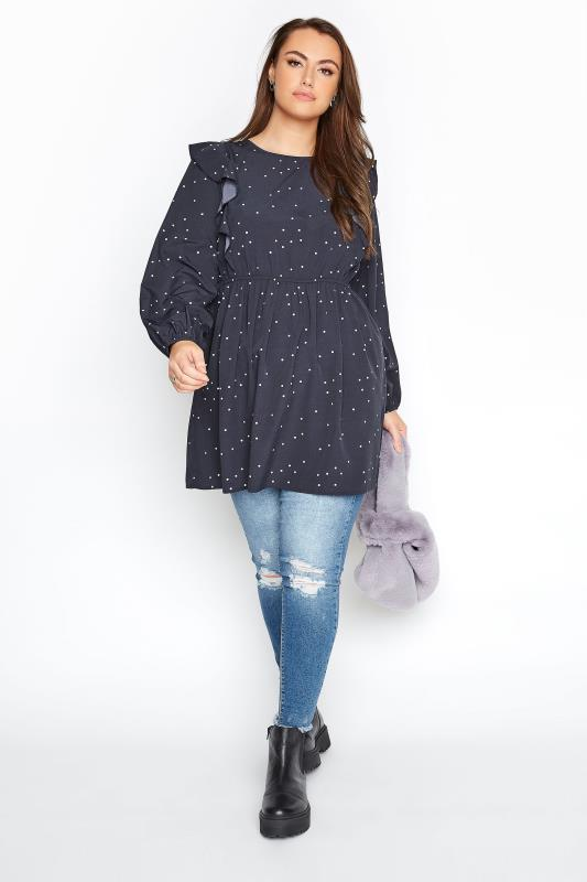 LIMITED COLLECTION Navy Polka Dot Frill Smock Top