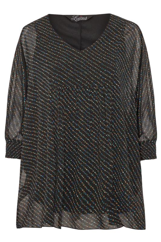 LIMITED COLLECTION Black Chiffon Ditsy Batwing Top