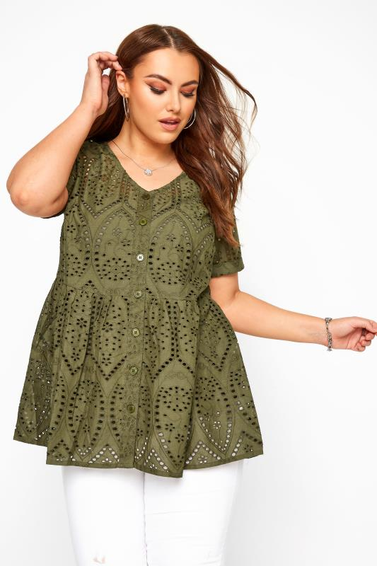 Plus Size Day Tops Khaki Embroidered Lace Peplum Smock Top