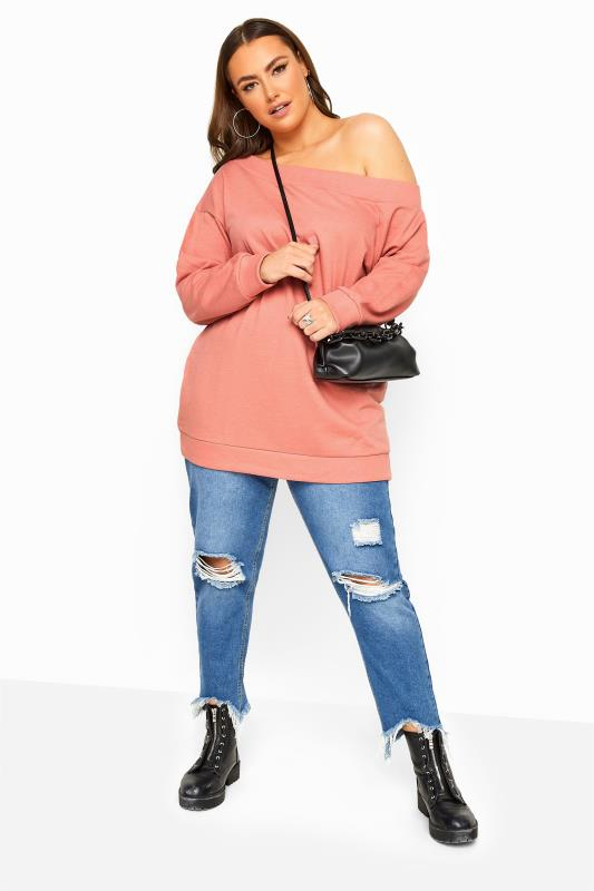 Blush Pink Off The Shoulder Sweatshirt