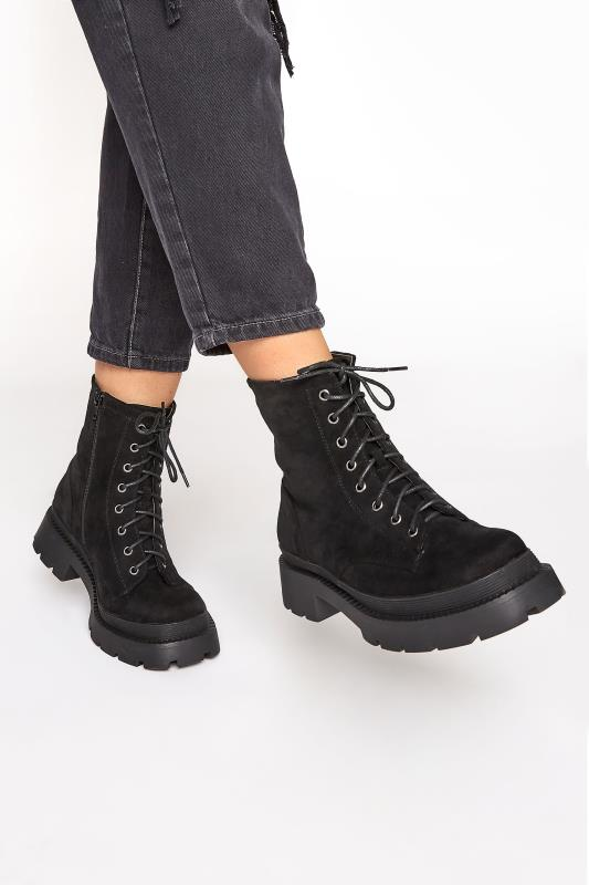 Plus Size  Black Faux Suede Chunky Lace-Up Boot in Regular Fit