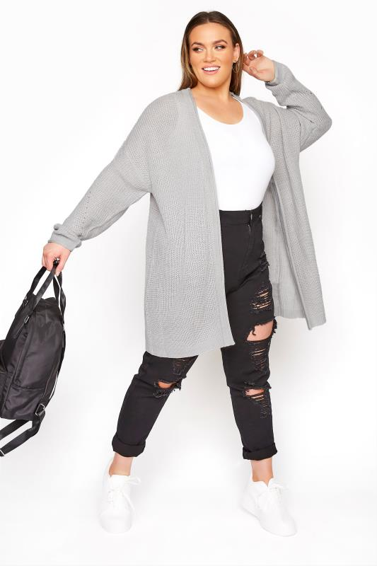 Grey Knitted Pointelle Cardigan