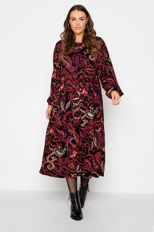Plus Size  Black Paisley Print Smock Midaxi Dress