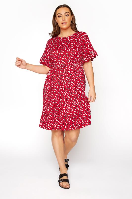 Red Floral Frill Sleeve Dress