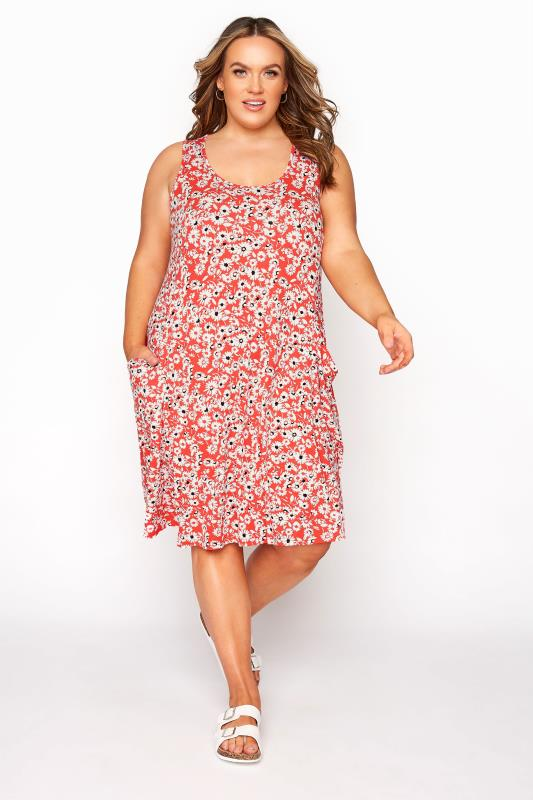 Plus Size  Coral Floral Sleeveless Drape Pocket Dress
