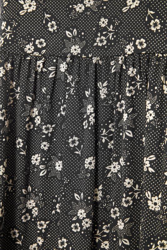 Black Floral Frill Hem Midi Dress_S.jpg