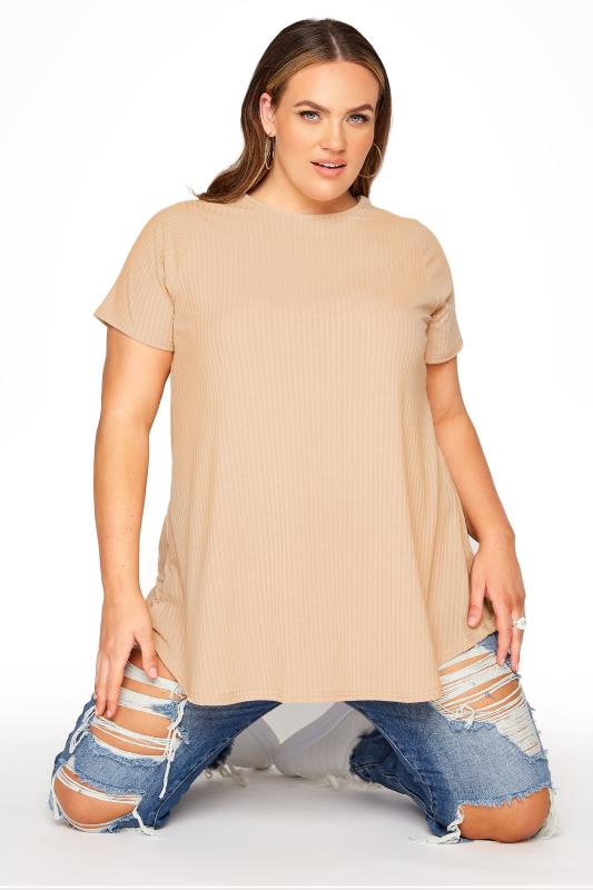 Plus Size  LIMITED COLLECTION Natural Rib Swing Top