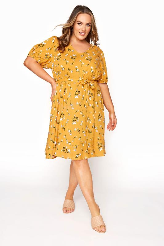 YOURS LONDON Mustard Yellow Floral Ruffle Hem Tea Dress_A.jpg