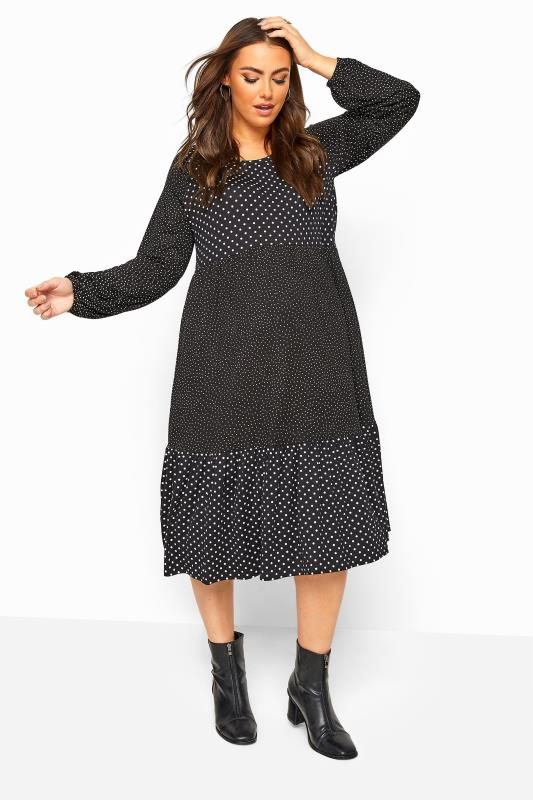 Plus Size Maternity Dresses BUMP IT UP MATERNITY Black Polka Dot Tiered Midi Dress