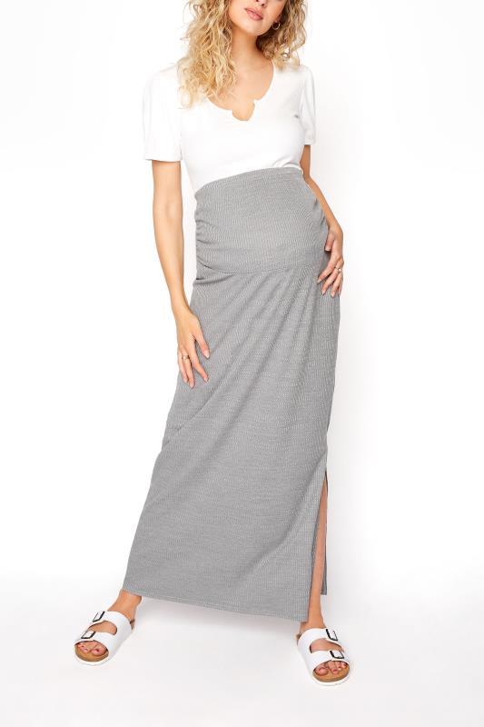 Tall  LTS Maternity Grey Ribbed Maxi Skirt