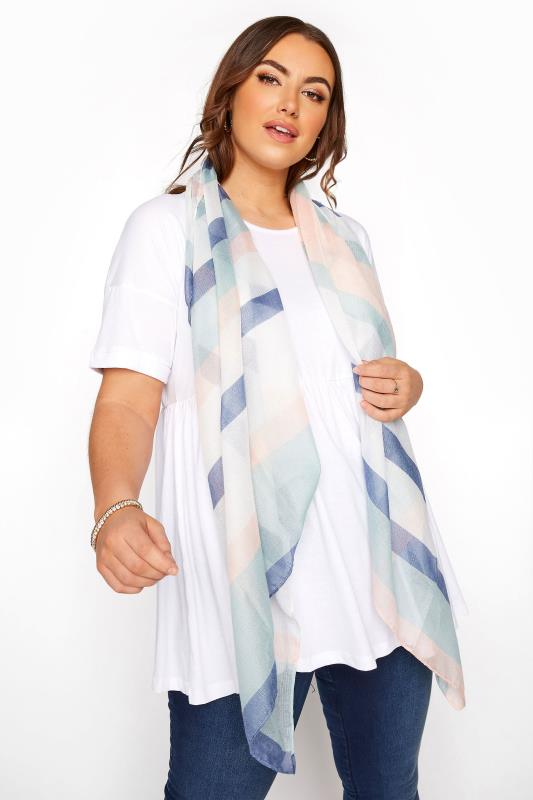 Plus Size  Pastel Multi Metallic Stripe Scarf