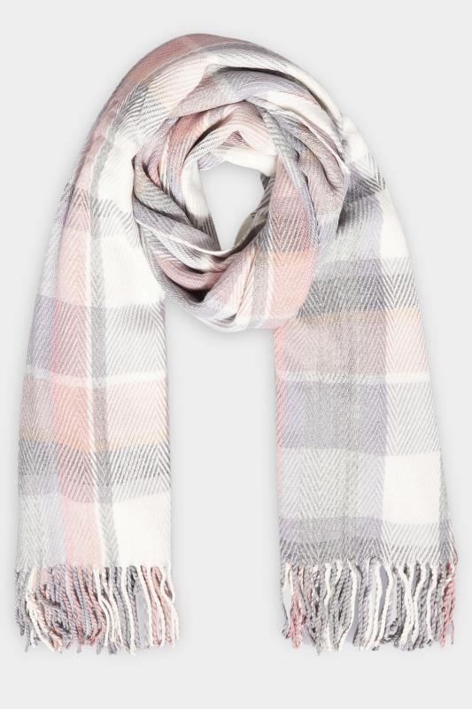 Pink & Grey Herringbone Check Scarf_F.jpg