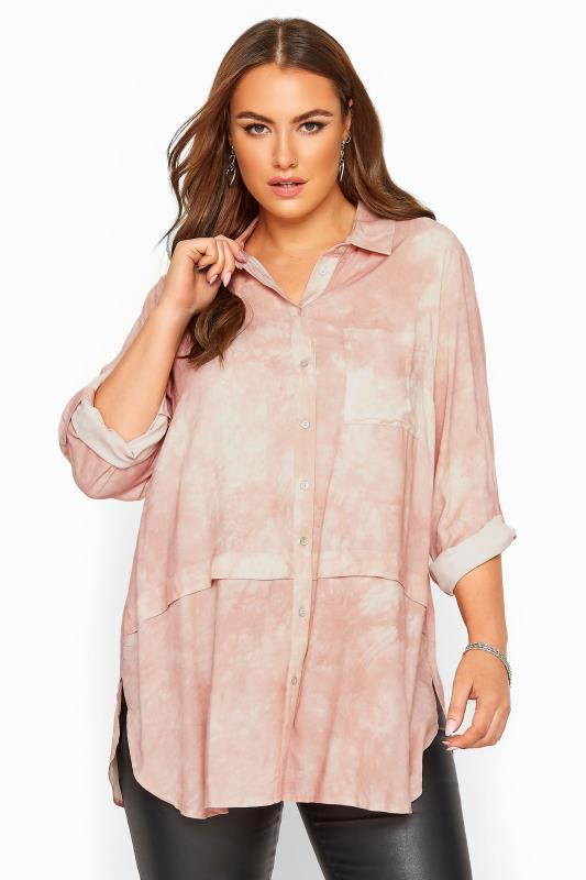 Plus Size Casual / Every Day Pastel Pink Tie Dye Longline Shirt