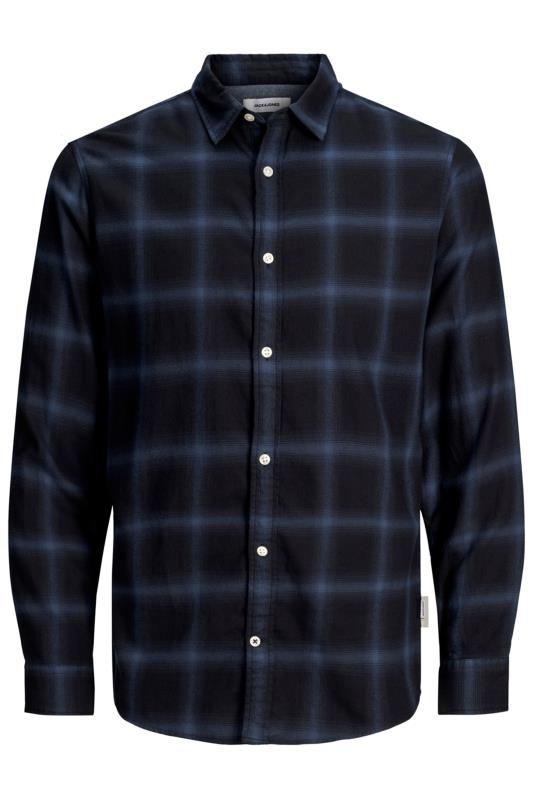 Men's Casual Shirts JACK & JONES Navy Long Sleeve Check Shirt