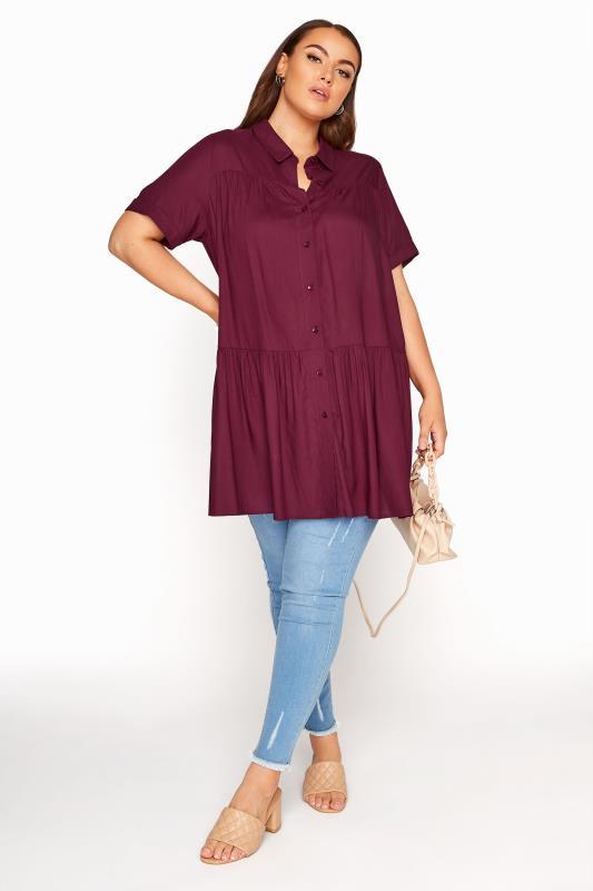Burgundy Tiered Smock Longline Shirt_B.jpg