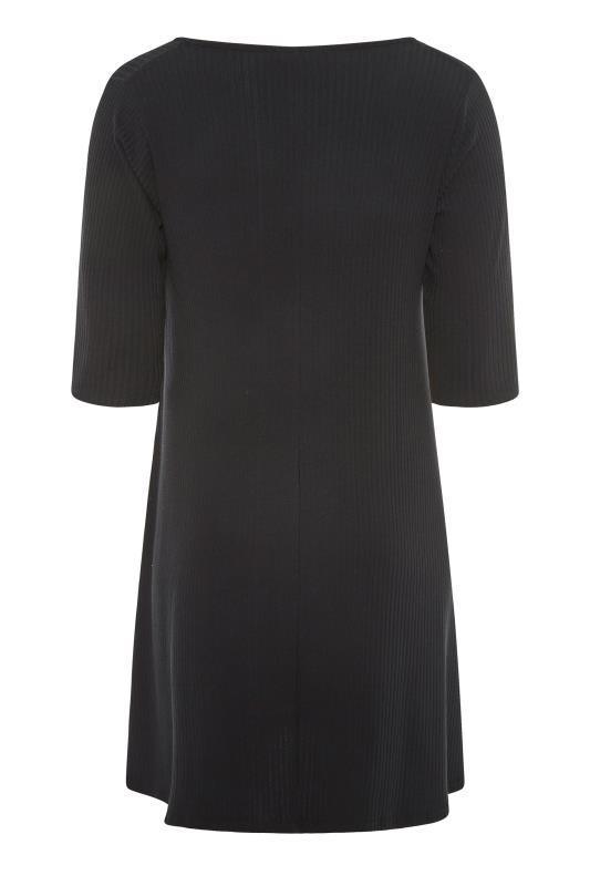 Black Ribbed Drape Pocket Dress_BK.jpg