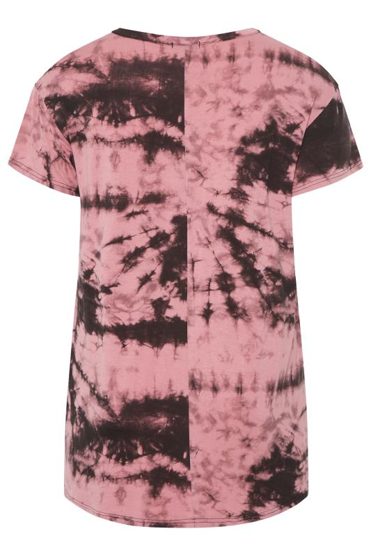 LIMITED COLLECTION Pink Dipped Hem Tie Dye T-Shirt