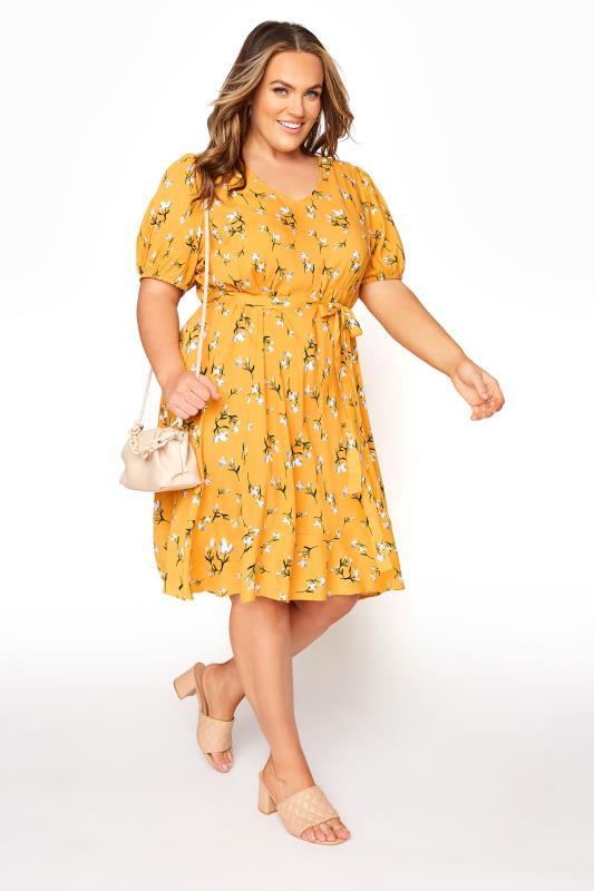 YOURS LONDON Mustard Yellow Floral Ruffle Hem Tea Dress_B.jpg