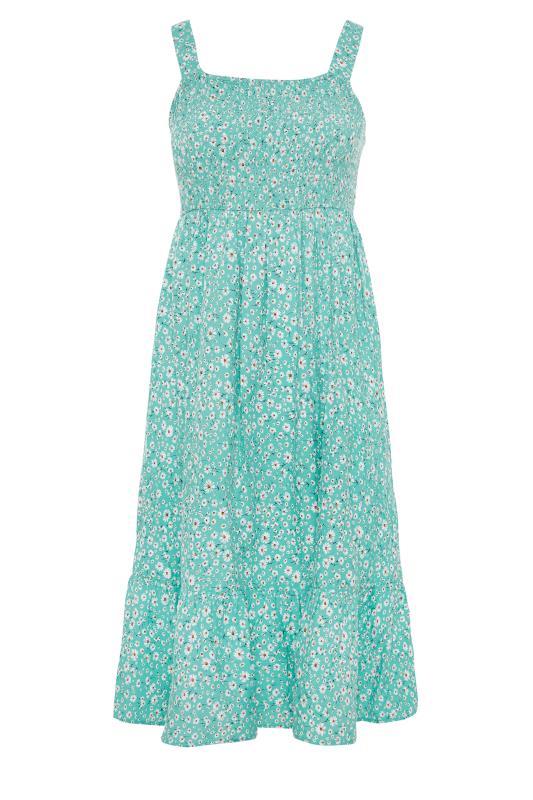 Green Floral Sleeveless Shirred Dress_F.jpg