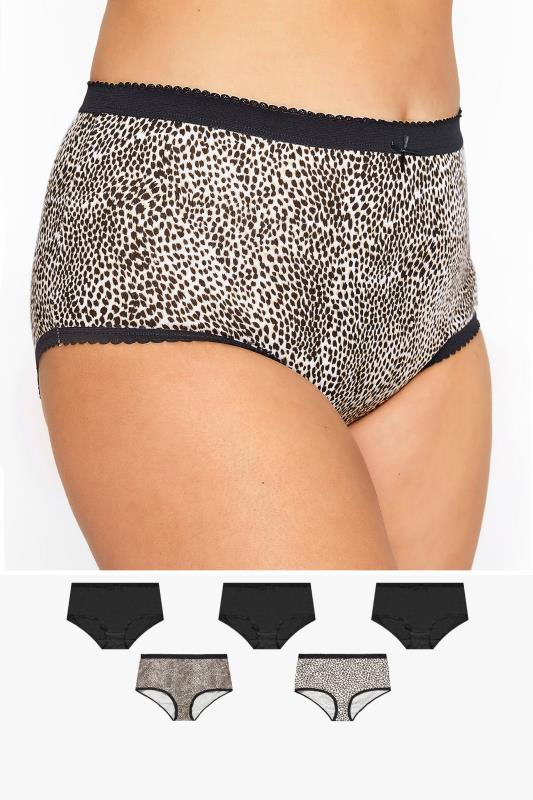5 PACK Multi Animal Print Full Briefs